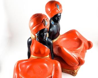 Vintage Mid Century Art Deco plaster bust chalkware African Figure/ figurines bookends. Goldscheider style sculpture hand painted.