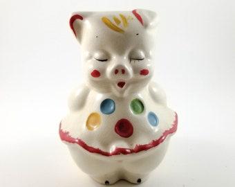 Ceramic Piggy Bank as Polka Dot clown Ceramic Pig Figurine Bank, Collectible Kitsch Pig
