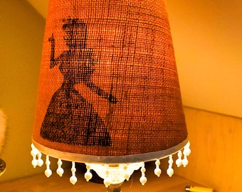 Fabulous Lady silhouette on the shade Etched Glass Table Lamp with Beaded Danglies