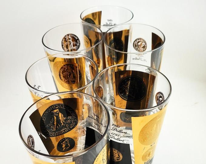 Man Cave Bonanza!! Set of 6 Libbey Vintage Black and Gold Cera Black & 22K Gold Coin Bar HiBall Glasses - Vintage Barware Glasses Glasses