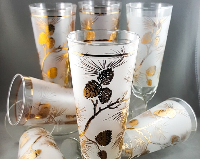 Libbey Frosted Gilt Pilsner Beer Glass Set 8 glasses with Pine Cone Motif