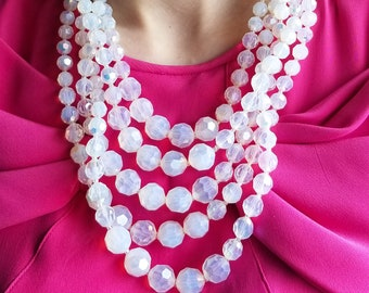 Gorgeous Brilliant Iridescent White and Clear Acrylic 5 String Beaded Necklace with Hook Clasp and Beaded Extension Chain