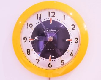 """Vintage Deco Sessions """"Preference"""" Yellow/White Electric Wall Clock"""