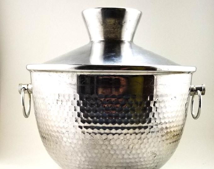 AWESOME FATHER'S DAY Gift!! Hammered Aluminum Mid Century Italian Ice Bucket
