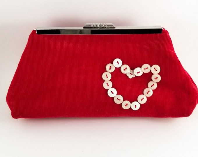 Fabulous 1960's Vintage Boho Red Corduroy Purse with White Vintage Buttons attached w Red Thres in the Shape of a Heart