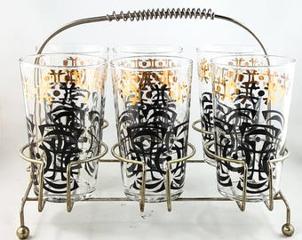 Fabulous Mid Century Modern Highball Bar Glasses 22k Gold and Black in Brass Caddy