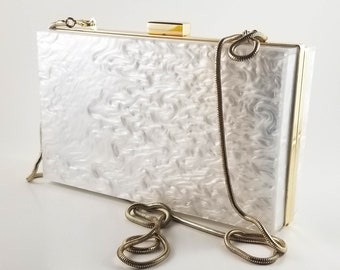 Fabulous White Marbleized Pearlised Lucite Handbag with Brass Chain Handle