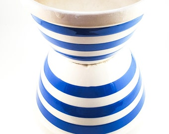 Vintage 1940's Collectible Made in England Blue and White Striped Stoneware Farm Bowls