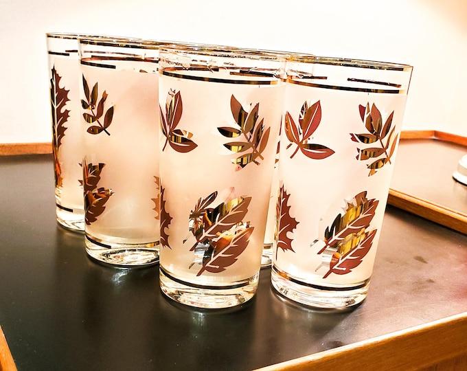 6 Vintage Libbey Glasses ~ Gold Leaf Foil Frosted Leaf Motif  ~ Retro Cocktail Glassware Barware - 1950's Hi Ball