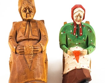 Vintage Audet carved folk figures -Canadian Traditional Quebec Hand Carved wood Folk art , Painted and Unpainted Grannies in Rocking Chairs