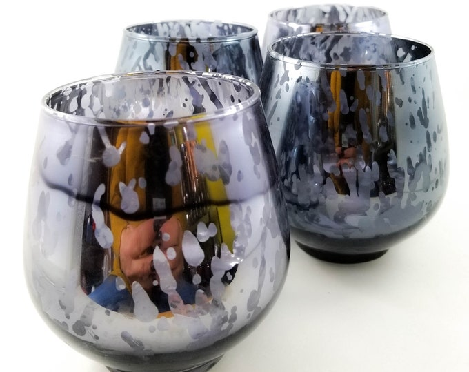 """so called """"mercury"""" Mottled Roly Poly Lo Ball Glasses with finger indentation"""