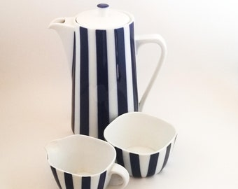 Danmark Lyngby Porcelain – Dani-ild Harlequin Blue Stripe Coffee Pot with Cream and Sugar Bowl