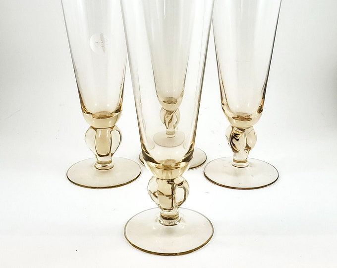 Gorgeous Colored Pilsner Beer Glass Set of 4 in warm peachy amber