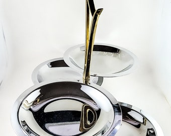 Silver and Gold Chrome 4 Plate Appetizer Platter with Gold Handle and Swivelling Plates