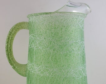 Mid Century Lime and White Glass, Spun Spaghetti Surface Pitcher