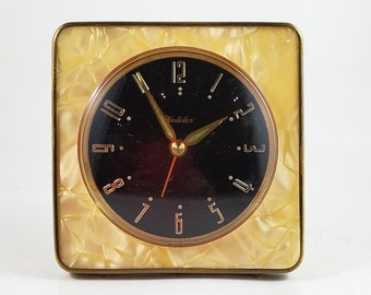 Gorgeous Brass and Formica l Westclox Alarm Clock with Gold frame