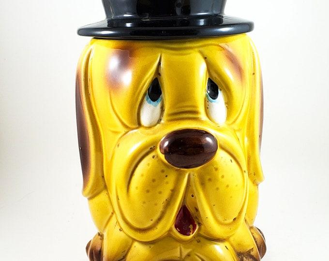 American Bisque Cookie/Biscuit Jar Sad Sack Dog/Bassett Hound with Hat Lid