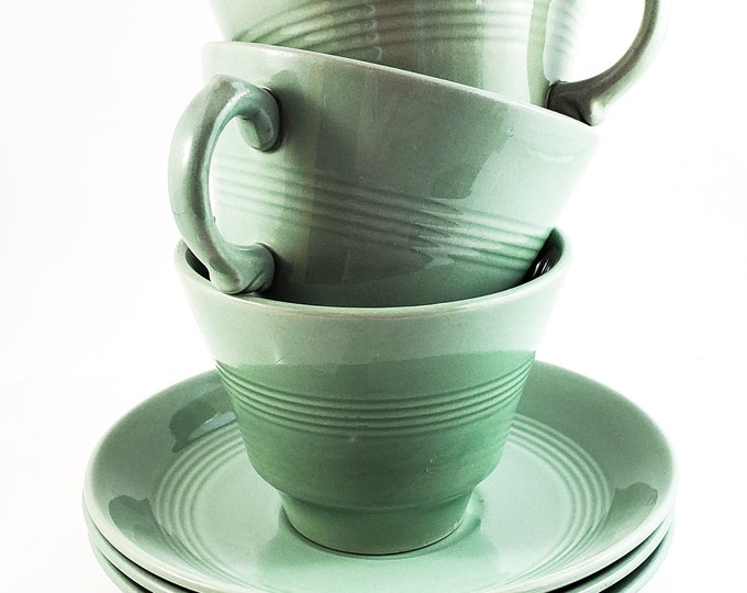Mint Green Woodware Coffee/Tea 3 Piece tea cup and saucer Set in Beryl Design