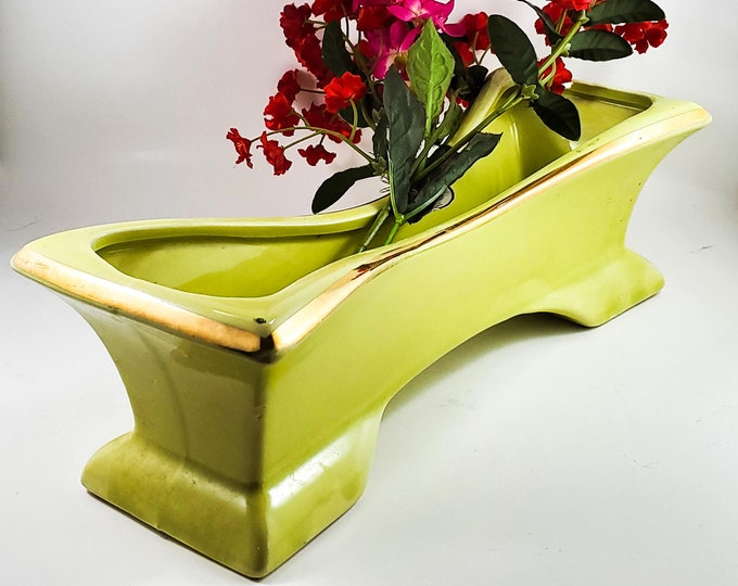 Gorgeous Unusual Chartreause Planter with Gold Trim