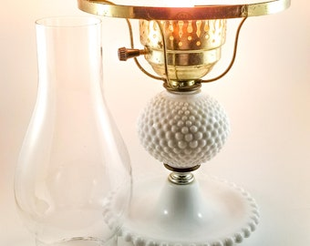Vintage Milk Glass Hobnail Lamp With Glass Hurricane Chimney, Table Lamp, Nightstand Lamp, Shabby Chic, Cottage Chic