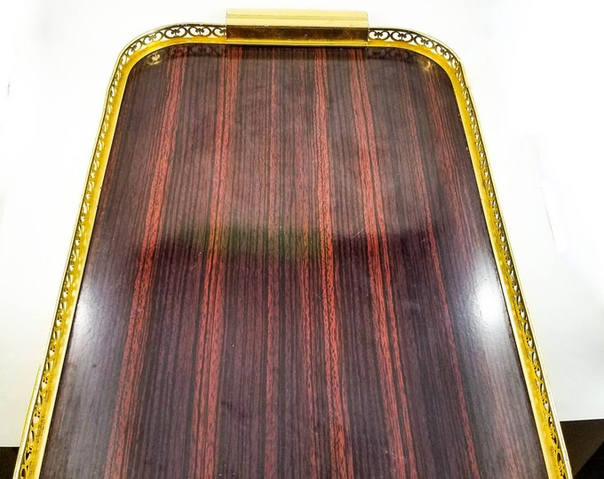 Extra Large Mid Century Modern Formica Faux Wood and Aluminum Laminate Tray/Platter