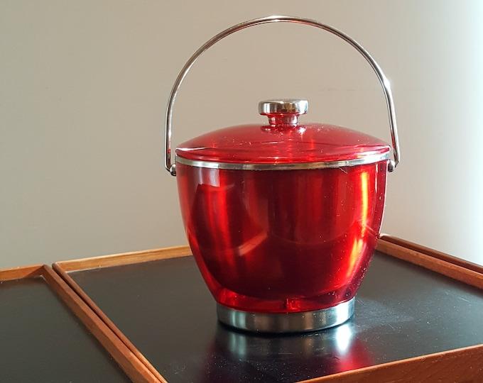 Stunnung Mid Century Modern Ruby Red Red Vintage Aluminum Acrylic Encased Ice Bucket-Vintage Barware - BarCart Ice Bucket - Cocktails