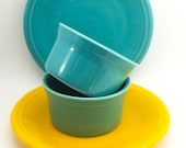 Blue and Yellow Fiestaware Berry Bowls and Plates