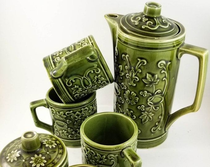 Super Cool Vintage Mid Century Green Coffee Set with cream, sugar, pot and 3 mugs