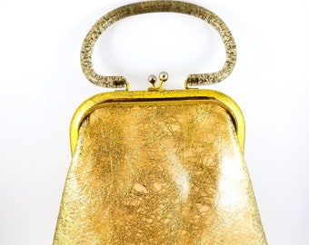 Vintage Stunning 1960's Gold Plastic Handbag/Purse/Clutch Glitter encased handle