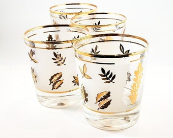 Awesome Mid Century Gold Leaf Libbey Whiskey glasses Set of 4