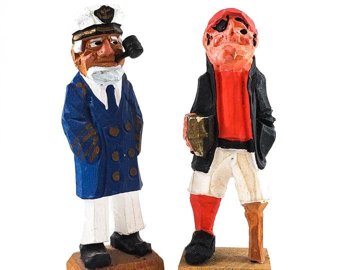 Vintage Audet carved folk figures -Canadian Traditional Quebec Hand Carved wood Folk art Sculpture figures, Sea Captain and Pirate