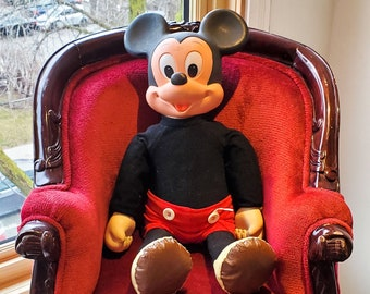 1975 Hard Plastic, Rubber and Vinyl Mickey Mouse Doll by Hasbro with signature clothing