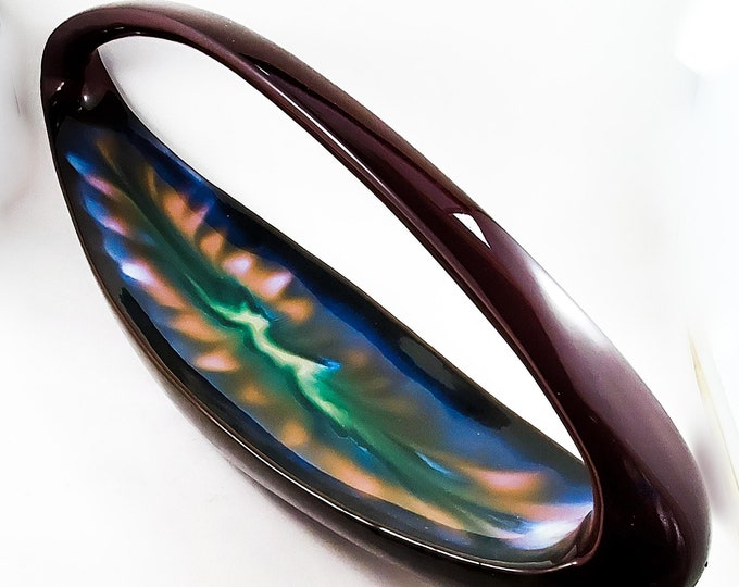 Incredible Mid Century Drip Glaze Ceramic Basket in Chestnut and Chartreuse