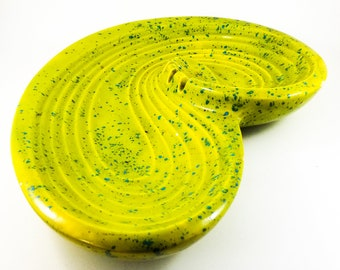 Fabulous Mid Century Chartreuse Splatter Glaze Ashtray/Trinket Dish