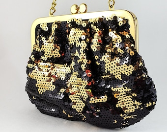 Magnificent Hand Sequinned Gold and Black  Evening Bag with Gold Chain Strap and Kiss Clasp.