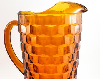 Gorgeous Vintage Mid Century Georgian Pattern Amber Faceted Indiana Glass Pitcher
