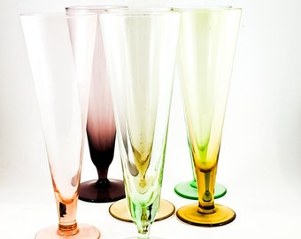 Gorgeous Colored Pilsner Beer Glass Set of 6 in jewel Tones, 2 Green, 2 Amber, 1 Rose and 1 Purple