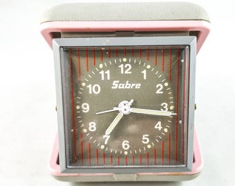 Pink Travel Alarm Clock with Pink and Gray Case Pink folding mechanical by Sabre