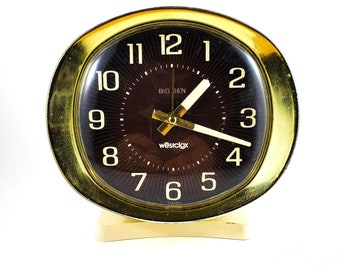 Classic Old School Westclox Alarm Clock with Gold frame