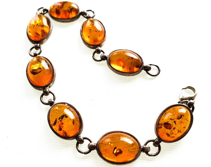 Stunning Baltic Amber and Sterling Silver Bracelet