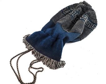 Gorgeous Blue Knit and Silver Bead Micro Bead Drawstring  Vintage Evening Bag w/ Metal strap/Antique Deco Drawstring Handbag