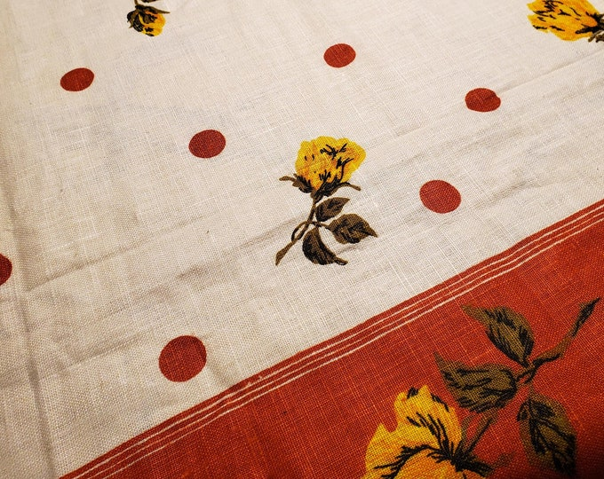 1950's Country Kitchen Rectangular Linen Tablecloth with Terra Cotta Banding and Terra Cotta Polka Dots and Yellow Rose  Rose Motif