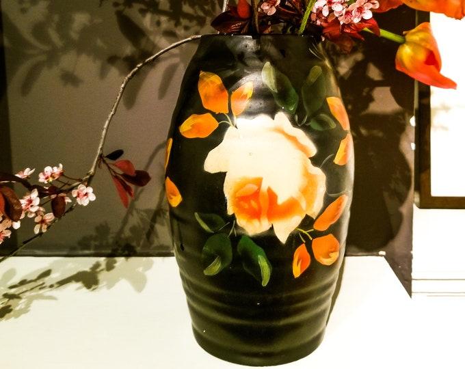 Hand Painted Art Deco Floral Vase in Black