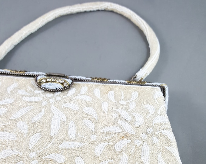 Magnificent Beaded White Wedding Bag with Beaded Handle  and Rhinestone Clasp.