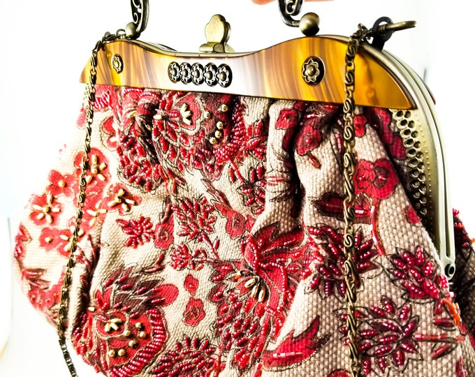 Fabulous 1960's Vintage Boho Bead Embroidered Purse with Red Floral Fabric
