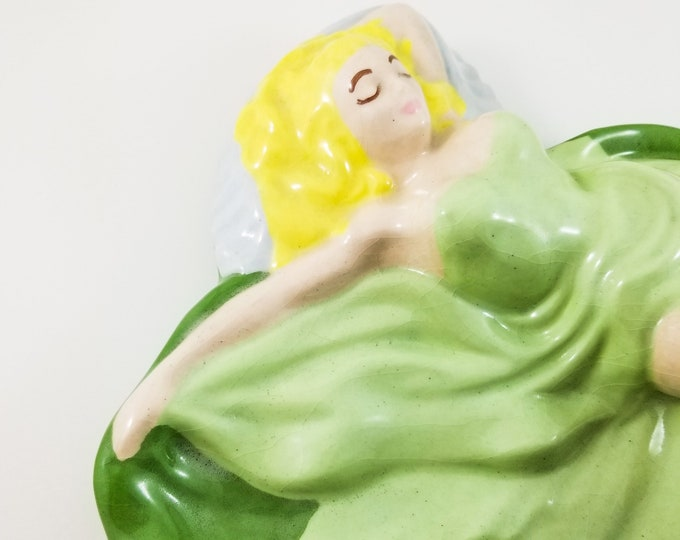 Vintage Green Pin Up Girl Jewelry Dish, Ash Tray, Woman Laying Down, Sexy Lady Blonde