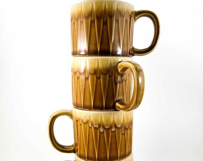Set of 4 Super Cool Vintage Amber Ceramic Stacking Mugs with D-handles and Drip Glaze Rims