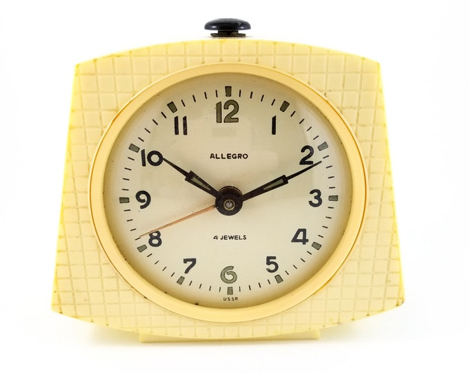 Very Cool Cream Coloured USSR Allegro Decoesque alarm clock