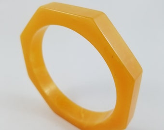 Gorgeous Golden Yellow Hexagon Bakelite Bangle