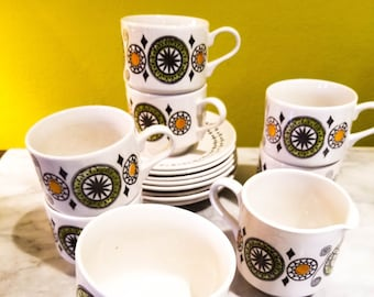 Delightful Kathie Winkle Mid Century Cups and Saucers in Renaissance Pattern Set of 8 + Creamer
